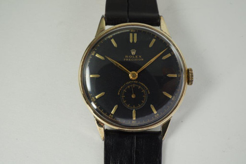 Rolex 4357 Precision w/ gold top and stainless steel case dates 1953 vintage pre owned for sale houston fabsuisse