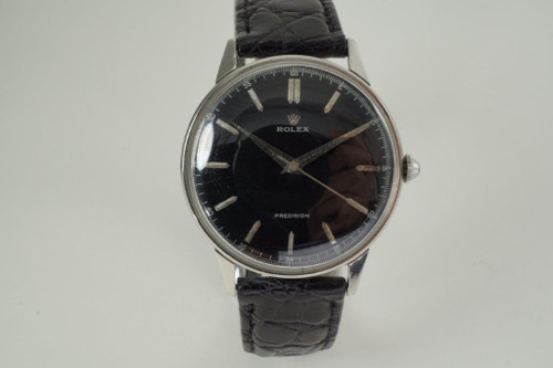 Rolex 4363 Precision stainless steel w/ restored black dial dates 1962 vintage pre owned for sale houston fabsuisse
