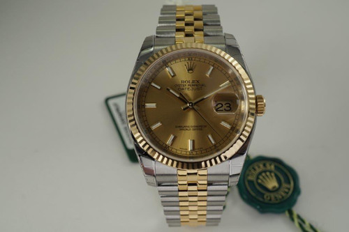 Rolex 116233 Datejust unworn w/ stickers, card and box dates 2015 yellow gold & stainless steel automatic pre owned for sale houston fabsuisse