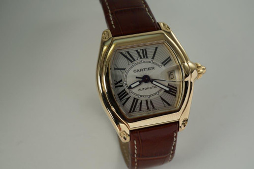 Cartier 2524 Roadster 18k yellow gold automatic date c. 2000's pre owned for sale houston fabsuisse