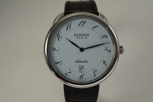 Hermes AR4.810 Arceau stainless steel automatic date circa 2000's modern automatic unisex watch pre owned for sale houston fabsuisse