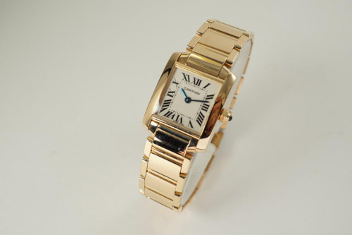 Cartier 2793 Tank Francaise 18k rose gold mint includes service pouch modern pre owned ladies watch for sale houston fabsuisse