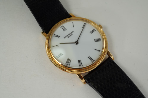Patek Philippe 3744 Calatrava 18k yellow gold dates 1980's vintage pre owned for sale houston fabsuisse