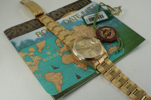 Rolex 15238 Date 18k mint oyster bracelet 34 mm books & tags c. 1997 modern pre owned for sale houston fabsuisse