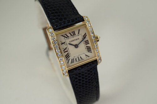 Cartier 2385 Tank Francaise ladies diamond 18k yellow gold w/ deployment & box c. 2000's modern pre owned for sale houston fabsuisse