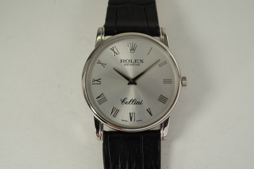 Rolex 5116 Cellini 18k white gold dates 2007 modern original pre owned for sale houston fabsuisse