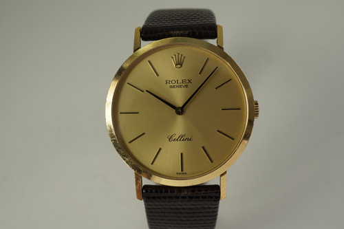 Rolex 4112 Cellini 18k yellow gold all original dates 1980's vintage executive look pre owned for sale houston fabsuisse