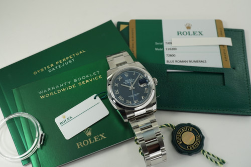 Rolex 116200 Datejust stainless steel w/ box, cards and tags c. 2018 modern pre owned for sale houston fabsuisse