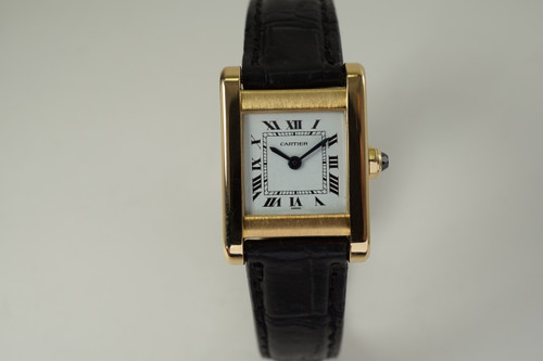 Cartier Tank Normale ladies 18k yellow gold w/ deployment dates 1990's modern pre owned for sale houston fabsuisse