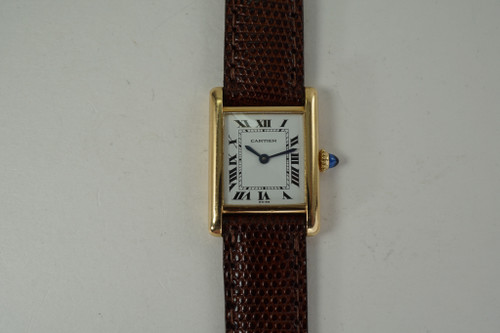 Cartier Classic Tank ladies 18k yellow gold vintage dates 1980's pre owned for sale houston fabsuisse