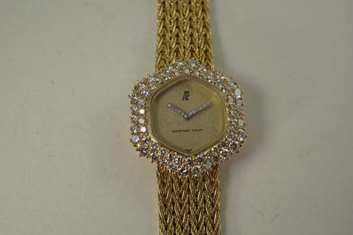 Audemars Piguet Ladies Bracelet Watch 18k & factory diamonds c. 1970's vintage pre owned for sale houston fabsuisse