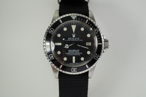 Rolex 1665 Sea Dweller w/ recent Rolex service box, card & book c. 1979-80 automatic vintage pre owned for sale houston fabsuisse