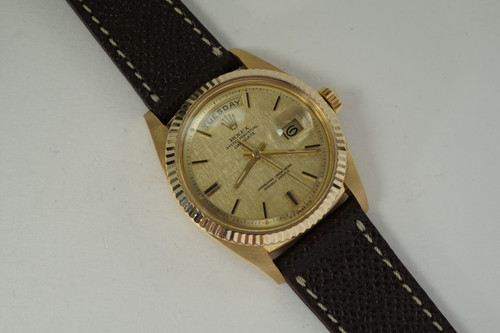 Rolex 1803 Day Date President Head 18k yellow gold dates 1977  automatic pre owned for sale houston fabsuisse