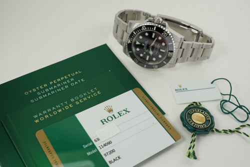 Rolex 114060 Submariner ceramic w/ box, card & tags steel c. 2017 modern automatic for sale houston fabsuisse