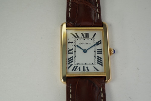 Cartier 2742 Tank Solo 18k yellow gold & steel large c. 2010 pre owned quartz modern for sale houston fabsuisse