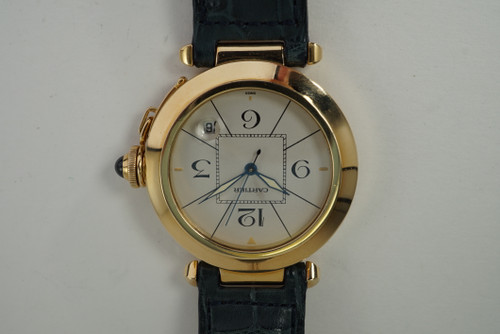 Cartier Pasha 18k yellow gold automatic w/ deployment & box c. 1989 vintage pre owned for sale houston fabsuisse