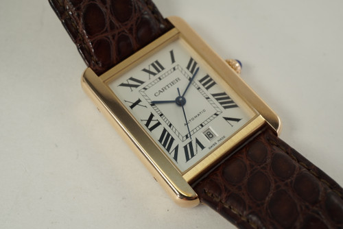 Cartier Tank Solo XL 3514 rose gold & stainless steel automatic dates 2010 pre owned modern for sale houston fabsuisse