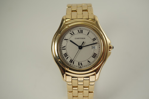 Cartier Panther Cougar 887904 solid 18k yellow gold dates 1990's pre owned for sale houston fabsuisse