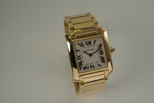 Cartier 1821 Tank Francaise 18k yellow gold medium 25 mm ladies dates 2000's modern pre owned for sale houston fabsuisse