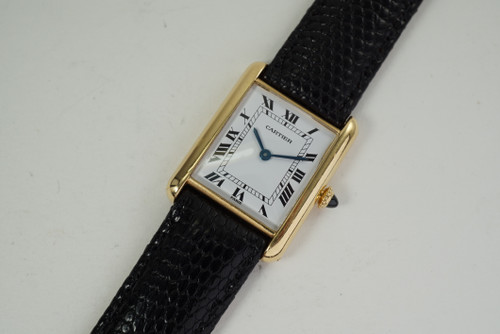 Cartier Tank Classic 18k yellow gold Paris dates 1980's vintage pre owned for sale houston fabsuisse