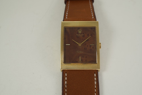 Rolex 4127 Cellini w/ wood dial 18k yellow gold gorgeous case c. 1976 pre owned for sale houston fabsuisse