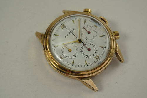 Movado 49038 Chronograph 14k yellow gold mint case dates 1954 vintage pre owned for sale houston fabsuisse