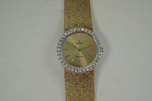 Concorde Ladies Nine Quartz factory diamond bezel dates 1990's 14k yellow gold pre owned for sale houston fabsuisse