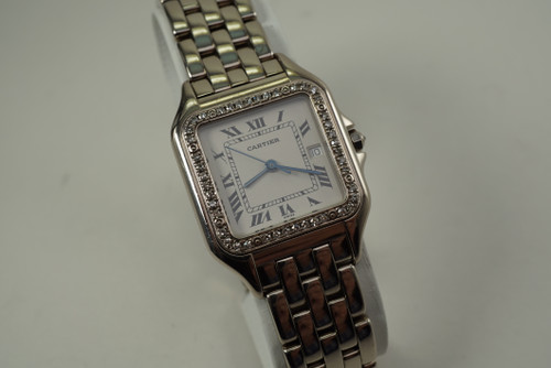 Cartier Panther 18k white gold & diamond bezel man's dates 1990's pre owned for sale houston fabsuisse