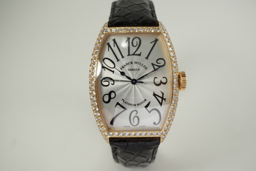 Franck Muller 5850 SCD Cintre Curvex 18k rose gold automatic c. 2000's modern automatic pre owned for sale houston fabsuisse