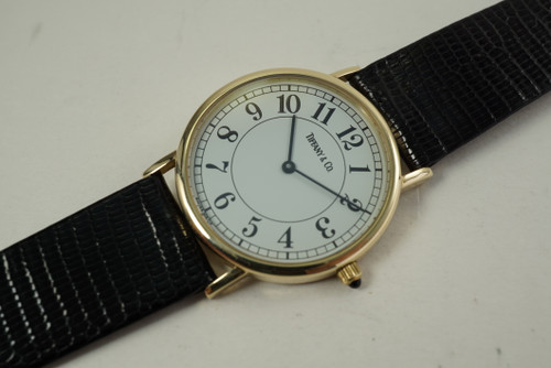 Tiffany & Co. Ladies Wristwatch solid 14k yellow gold dates 2000's quartz modern pre owned for sale houston fabsuisse