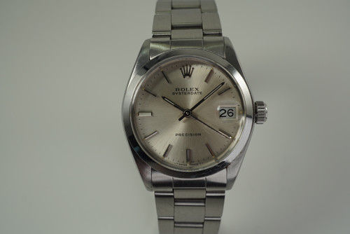 Rolex 6466 Oysterdate Precision stainless steel dates 1986 vintage pre owned for sale houston fabsuisse