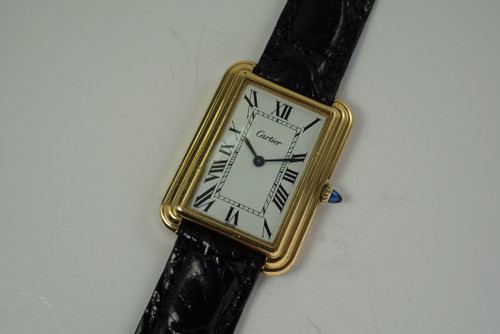 Cartier 15716 Wristwatch w/ Oversized stepped case original dial dates 1970's vintage pre owned for sale houston fabsuisse