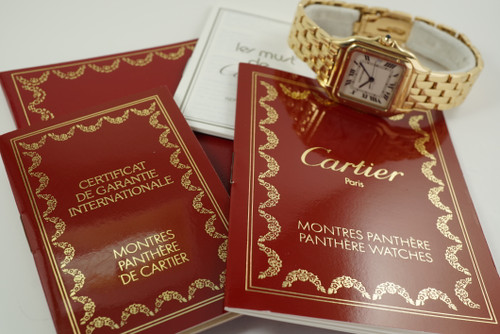 Cartier 887968 Panther 18k yellow gold w/ box & papers c. 1994 modern original pre owned for sale houston fabsuisse