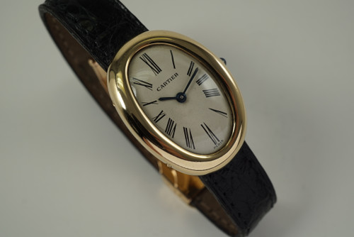 Cartier Ladies Baignoire original French deployant 18k yellow gold dates 1970's all original pre owned for sale by fabsuisse
