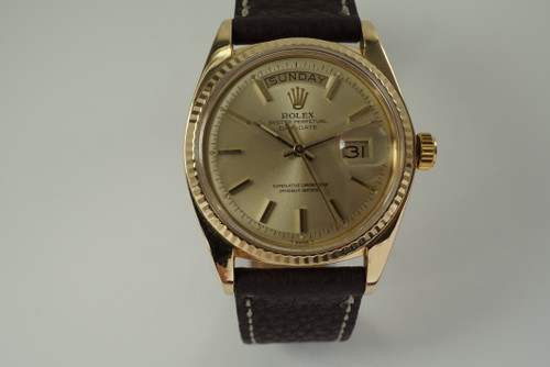 Rolex 1803 President 18k yellow gold day date head dates 1973 vintage automatic pre owned for sale houston fabsuisse
