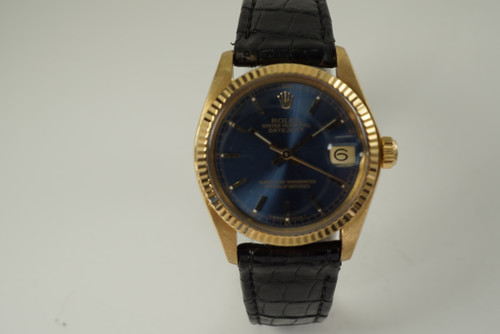 Rolex 6827 Datejust midsize w/ box, papers & tag 18k yellow gold mint c. 1979 vintage automatic for sale houston fabsuisse