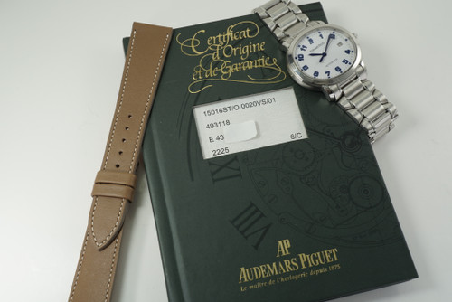 Audemars Piguet 15016ST Millenary steel w/ box & papers c. 2001 modern automatic mint condition pre owned for sale houston fabsuisse