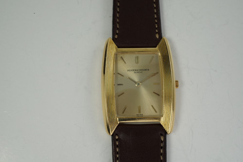 Vacheron Constantin 6891 Tonneau Shaped Watch 18k  yellow gold c. 1960-70's vintage pre-owned for sale houston fabsuisse