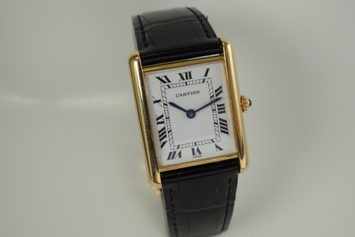 Cartier Tank 18k yellow gold w/ deployment & original box c. 2000's quartz pre owned modern watch for sale houston fabsuisse