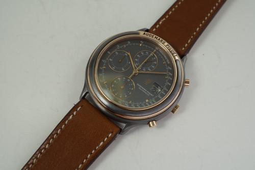 Audemars Piguet Huitieme Chronograph tantalum & rose gold automatic date c. 1980's vintage pre owned for sale houston fabsuisse