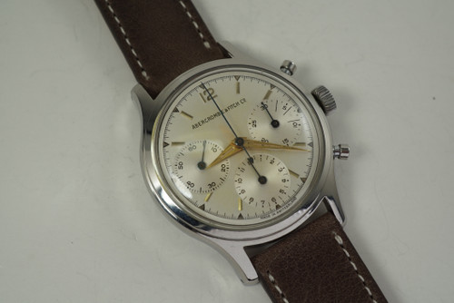 Heuer Abercrombie & Fitch 2444 Chronograph stainless steel c. 1960's vintage pre owned for sale houston fabsuisse