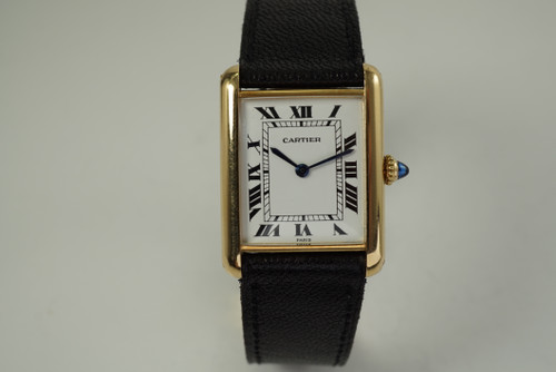 Cartier Classic Tank Paris w/ Cartier deployment 18k yellow gold c. 1980's vintage pre owned for sale houston fabsuisse