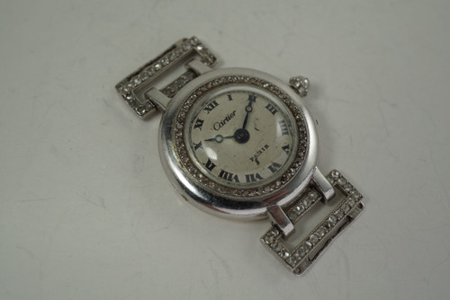 Cartier Ladies Wristwatch platinum w/ diamonds dates 1910-20's rare evening watch vintage pre owned for sale houston fabsuisse