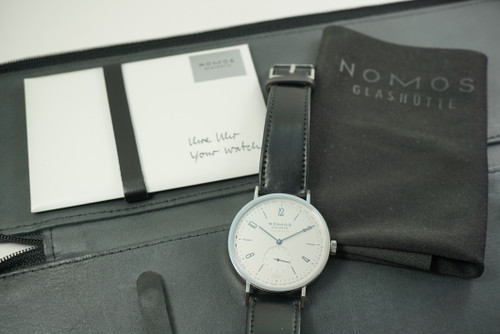 Nomos Glashutte Tangente 180 steel w/ box & papers c. 2020 modern pre owned for sale houston fabsuisse