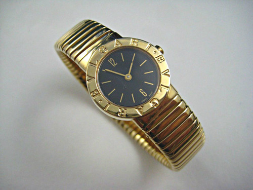 Bulgari BB232T Tubogas snake watch 18k yellow gold modern unique ladies quartz for sale Houston Fabsuisse