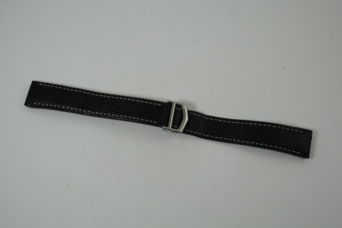 Cartier Santos strap black leather w/ steel deployment buckle pre owned for sale Houston fabsuisse