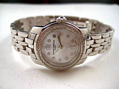 Baume & Mercier MOA8398 Capeland 18k white gold mini mother of pearl w/ diamonds for sale houston fabsuisse
