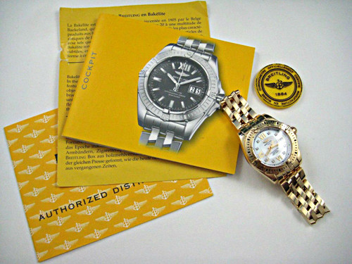 Breitling H71356 Cockpit 18k rose gold mother pearl diamond pearl with date all original quartz movement for sale houston fabsuisse