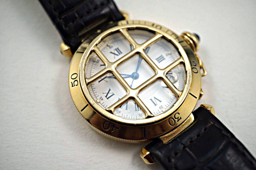 Cartier 18k yellow gold Pasha 1021 with grill dates 1990's automatic original pre owned for sale houston fabsuisse