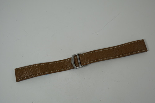 Cartier Santos brown leather strap with steel deployment buckle pre owned for sale Houston fabsuisse